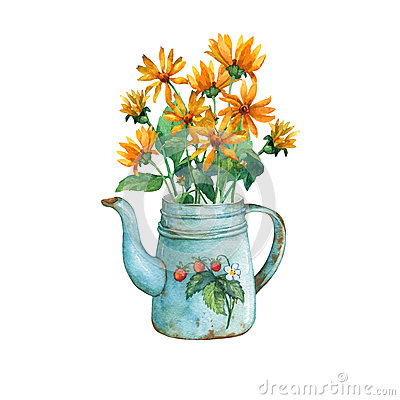 Free Vintage Blue Metal Teapot With Strawberries Pattern And Bouquet Of Yellow Flowers. Royalty Free Stock Image - 87307116