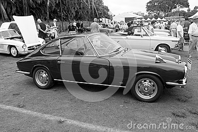 Vintage german sports car lateral view. 1967 bmw 1600 gt designed by
