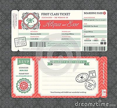 Free Vintage Boarding Pass Wedding Invitation Template Stock Photos - 41802483