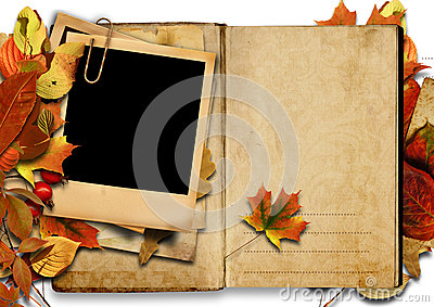 Vintage book with polaroid frame, autumn.
