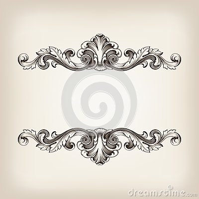 Free Vintage Border Frame Calligraphy Engraving Baroque Vector Stock Images - 28392454