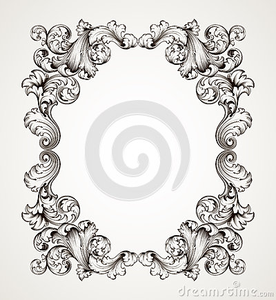 Free Vintage Border Frame Engraving Baroque Vector Royalty Free Stock Photo - 28174365