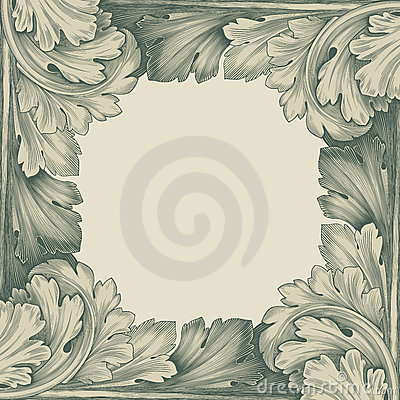 Free Vintage Border Frame Engraving Retro Pattern Royalty Free Stock Photography - 22685997