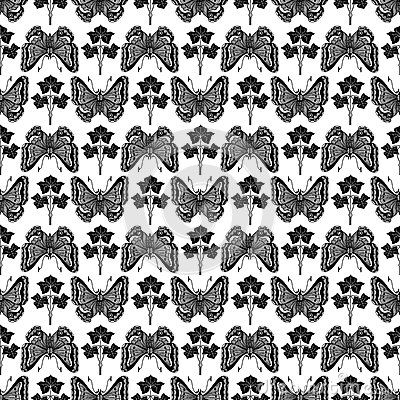 Vintage botanical butterfly and plant pattern