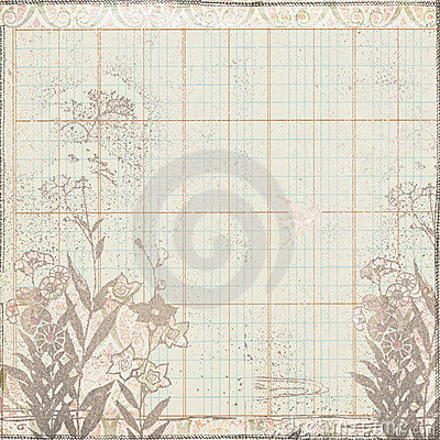 Vintage botanical floral frame on ledger paper