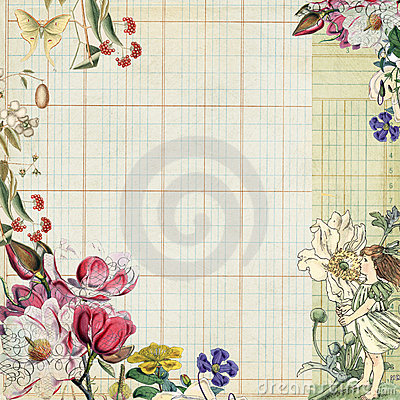 Free Vintage Botanical Floral Frame With Fairy Stock Photos - 20986563