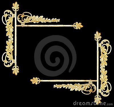 Vintage botanical metalwork as frame, sign