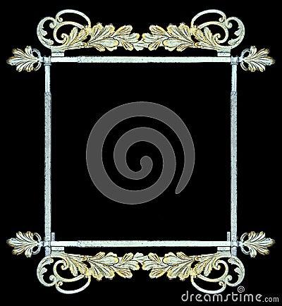 Vintage botanical metalwork as frame, sign