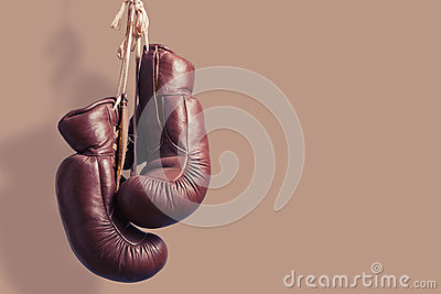 Vintage boxing Gloves, hanging