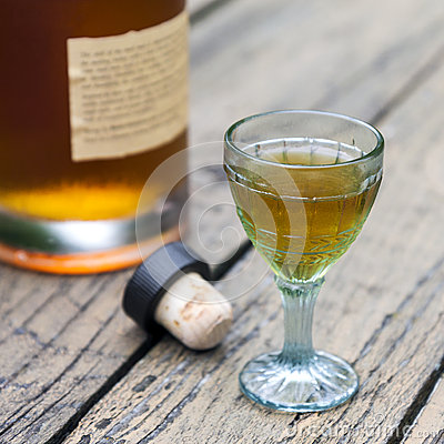 Free Vintage Brandy Glass With Bottle And Cork Stock Image - 58115581