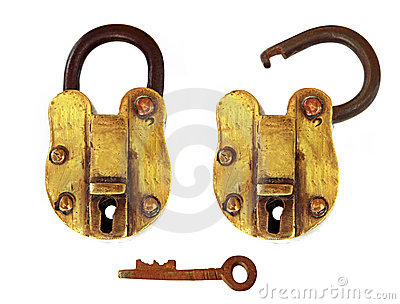 Vintage Brass Padlock, Open and Closed