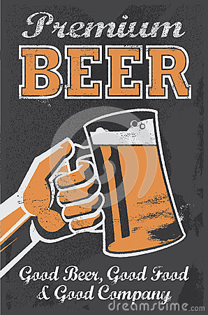Vintage Brewery Beer Poster - Chalkboard Vector Illustration