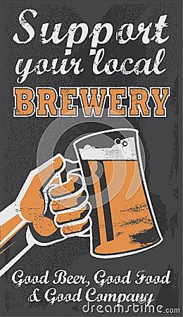 Vintage Brewery Beer Poster - Chalkboard Vector Illustration