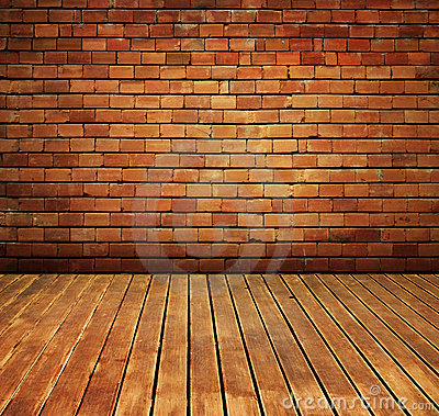 Vintage brick wall and wood floor texture interior