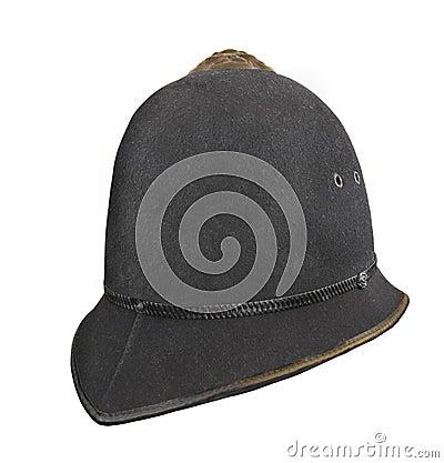 Vintage British police helmet hat isolated.