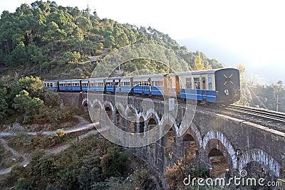 Vintage british train on himalayan terrain