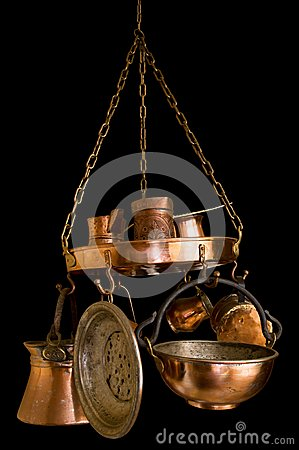 Vintage Bronze Kitchenware on Black