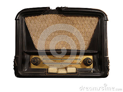Vintage brown old radio receiver isolated