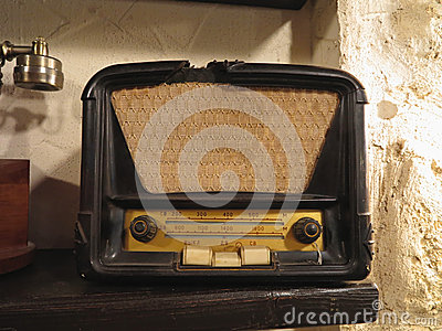 Vintage brown old radio receiver