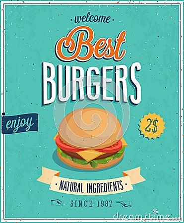 Vintage Burgers Poster.
