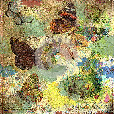 Free Vintage - Butterfly Collage Background Stock Images - 29176324