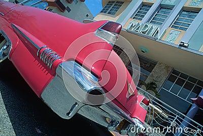 Vintage Cadilac in South Beach Miami, FL Editorial Photo