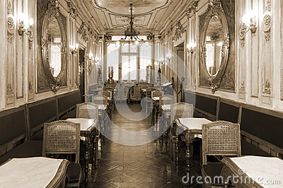 Vintage Cafe Interior With Wooden Furniture Royalty Free