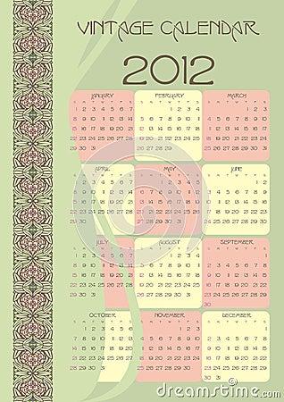 Vintage calendar 2012 vectors