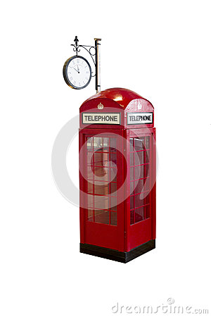 Vintage callbox telephone on white background