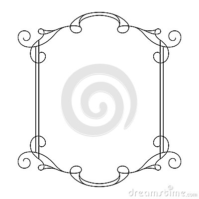 Vintage Calligraphic Rectangle Frame With Swirls Vector Illustration