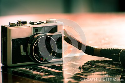 Vintage camera for analog film photography Stock Photo