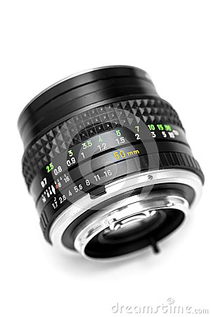 Vintage camera DSLR lens  on white