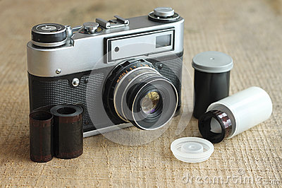 Vintage camera with film and case