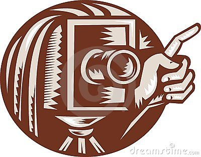 Vintage Camera Hand Pointing Retro