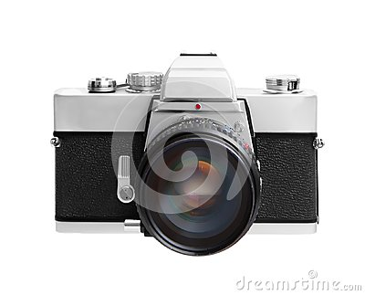 Vintage camera isolated on white background DSLR