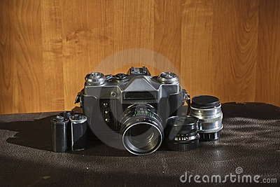 Vintage camera and lenses