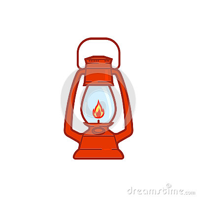Free Vintage Camping Lantern Isolated On White Background. Retro Gas Lamp With Glowing Fire Wick Stock Images - 98371584