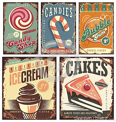 Free Vintage Candy Shop Collection Of Tin Signs Stock Photography - 66515652