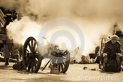 Vintage cannon fire Editorial Stock Photo