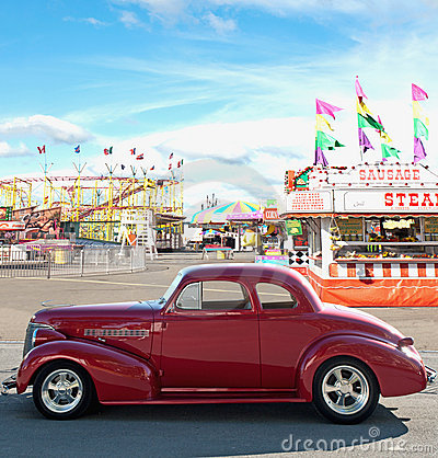 Vintage car and carnival