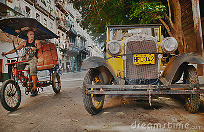 vintage car in central Havana. Editorial Stock Photo