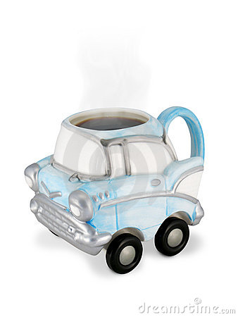 Vintage Car Coffee Cup with Steaming Coffee