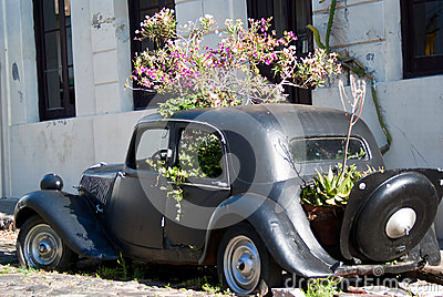 Vintage car in Colonia del Sacramento Editorial Photography