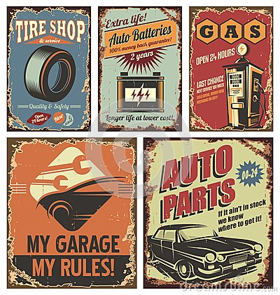 Vintage car service tin signs and posters on old rusty background Vector Illustration
