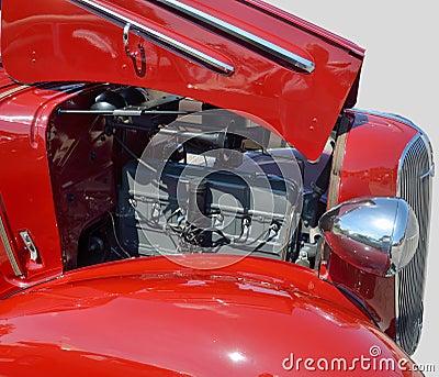 Vintage car showing engine