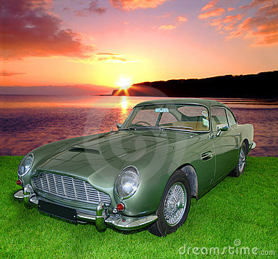 Vintage car at sunset