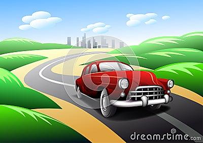 Vintage car traveling on road