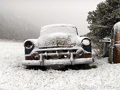 Vintage Car In Winter