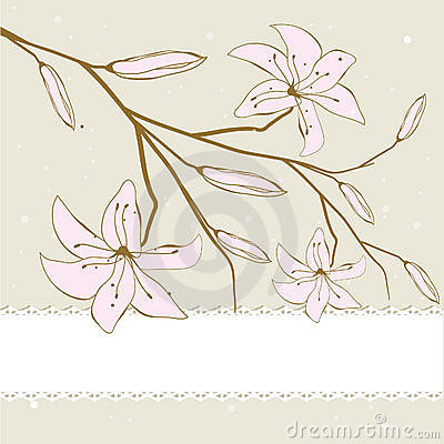 Vintage card with abstract lily flowers