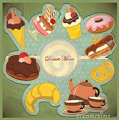 Vintage card  dessert